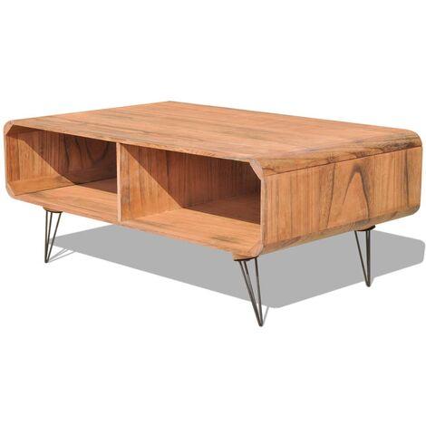 Mesa de centro de madera maziza Paulownia marrón