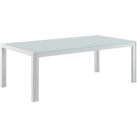 Mesa de centro de vidrio 100 x 50 x 35 cm mesa de jardín armazón hierro diseño terraza blanco