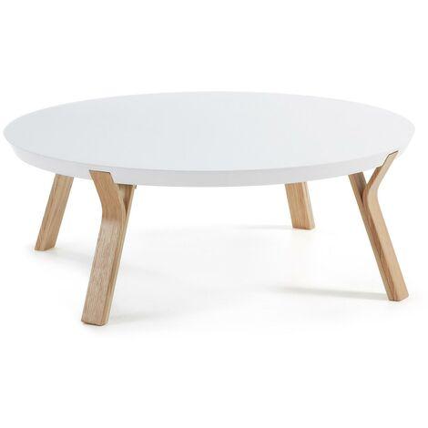 Mesa de centro Dilos Ø 90 cm blanco y fresno