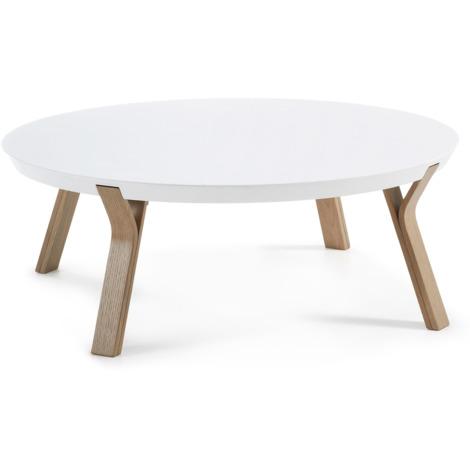 Mesa de centro Dilos Ø 90 cm blanco y roble