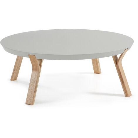 Mesa de centro Dilos Ø 90 cm gris y fresno