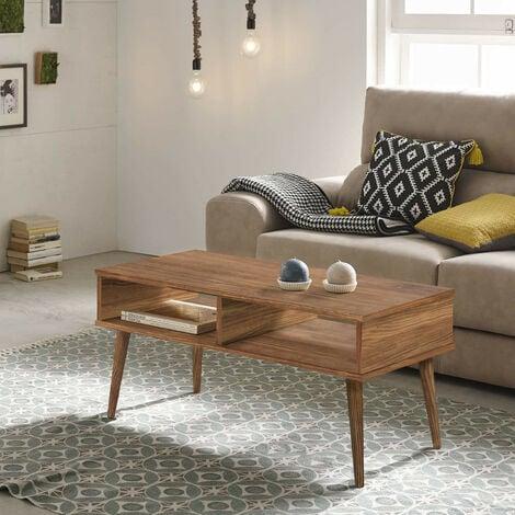 Mesa de centro diseno vintage, madera maciza natural con dos compartimentos, fabricacion artesanal. 100 cm x 50 cm x 49 cm