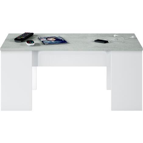 Mesa de centro elevable Blanco Artik y Cemento 100x50x43 cm