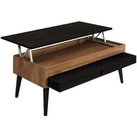 Mesa de Centro Elevable con Cajón Deslizante Diseño Vintage, Madera Maciza acabado encerado y negro. 100cm x 50cm x 47cm