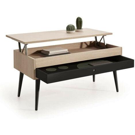 Mesa de Centro Elevable con cajon deslizante diseno vintage, madera roble natural chapado color Roble-Negro.
