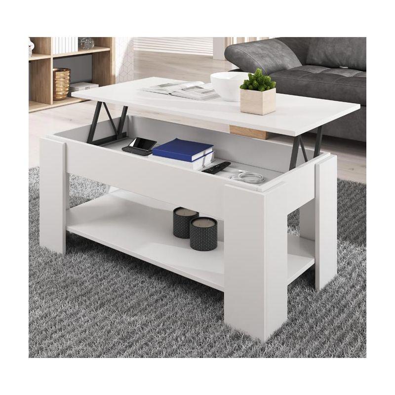 Mesa de centro elevable Nicoleta color blanco