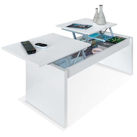 Mesa de centro elevable Side - Blanco Artik