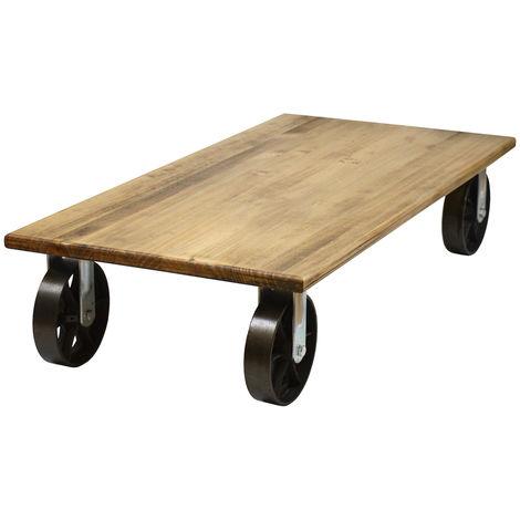 Mesa de centro industrial con ruedas de fundición – 60x120x27cm - 60X120X27 cm - Efecto Vintage - Negro y Cincado