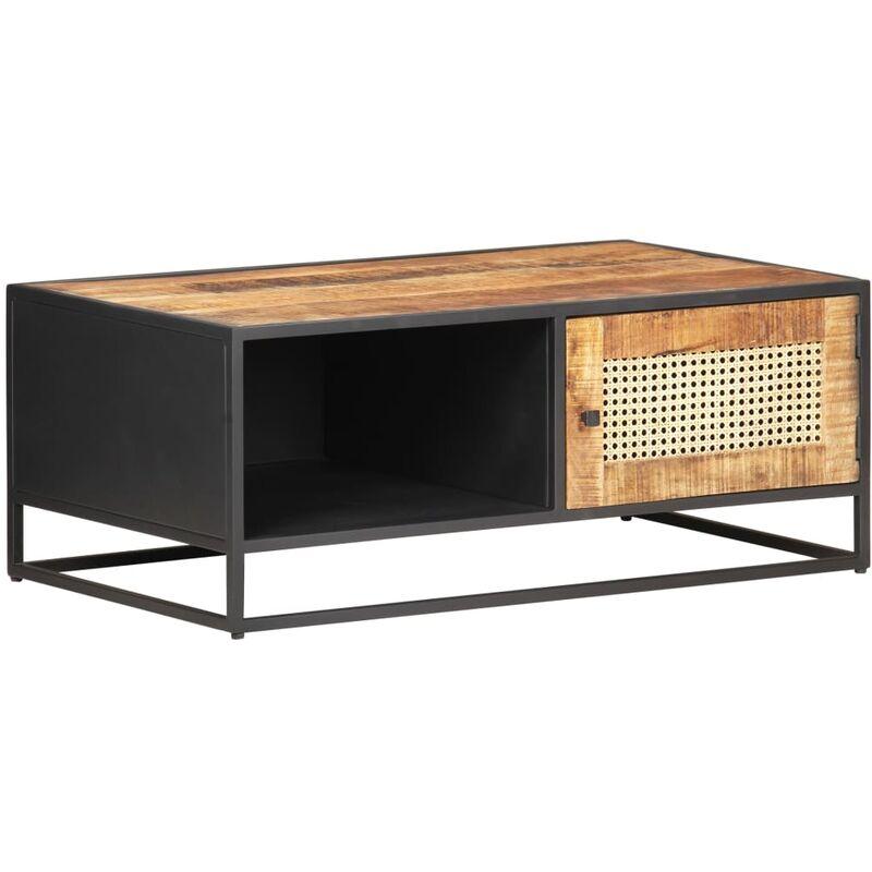 Mesa de centro madera de mango rugosa y ca?a natural 90x50x35cm - Marrón