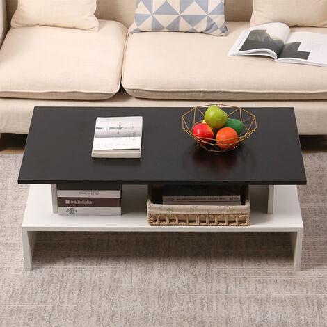 Mesa de Centro Mesa auxiliares de salón con repisa para Sofá Salón Dormitorio 97x51x38cm (Blanco y Negro)