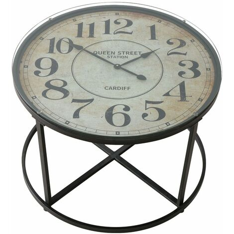 Mesa de centro mesa de salón vintage mesa auxiliar retro, reloj analógico, vidrio de hierro negro, DxH 80 x 56 cm, salón