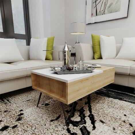 Mesa de Centro Mixa Elevable Baja - con Compartimientos - para Salon - Roble, Blanco en Madera, 80 x 50 x 38,6 cm
