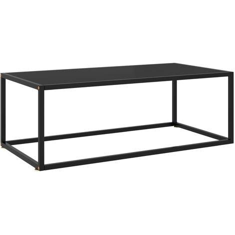 Mesa de centro negra con vidrio negro 100x50x35 cm