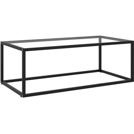 Mesa de centro negra con vidrio templado 100x50x35 cm - Negro