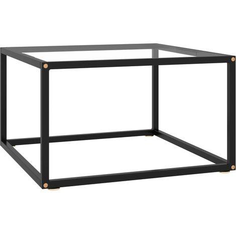 Mesa de centro negra con vidrio templado 60x60x35 cm - Negro