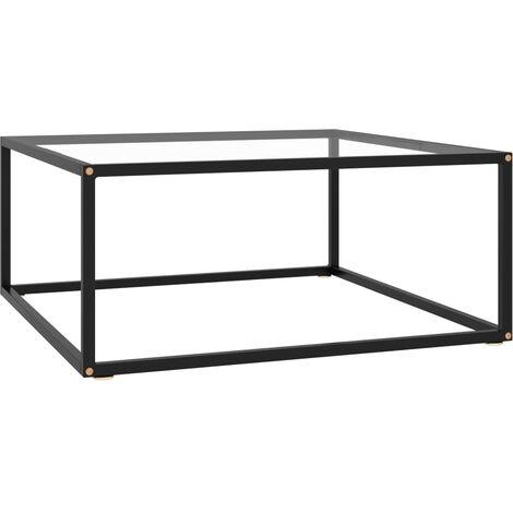 Mesa de centro negra con vidrio templado 80x80x35 cm - Negro