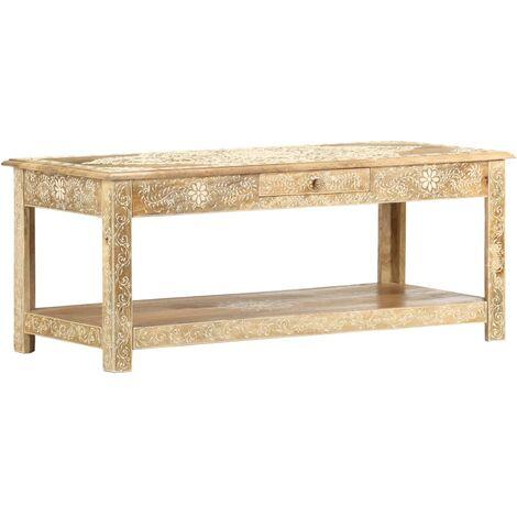 Mesa de centro pintada a mano madera maciza mango 110x50x45 cm