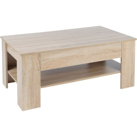 """main image of """"Mesa de centro roble sonoma con cajón mueble auxiliar salón moderna 110x48x65 cm"""""""