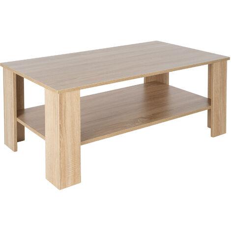 """main image of """"Mesa de centro roble sonoma con estante mueble auxiliar de salón 100x43x57cm"""""""