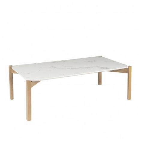 Mesa de centro Roble y Blanco 32x100x50 cm