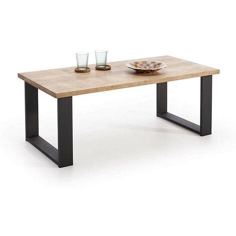 Mesa de centro salon comedor madera maciza natural y patas de acero. Estilo industrial vintage.