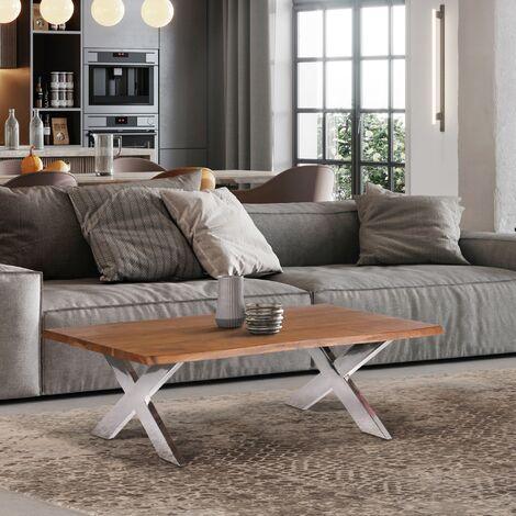 Mesa de centro salón madera acacia maciza pies de acero plata en X WOMO-DESIGN®