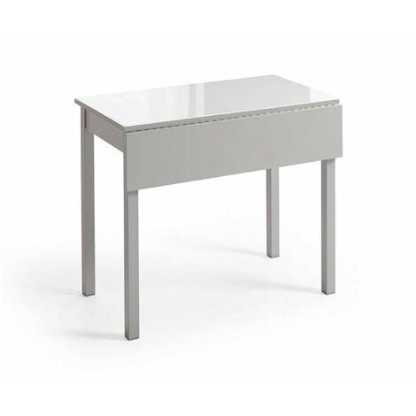 Mesa de cocina abatible cristal Beatriz | Color: BLANCO - Dimensiones : 90 x 50 cm - BLANCO