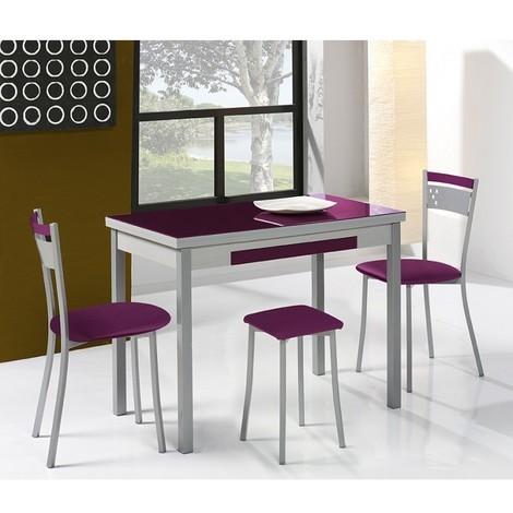 Mesa de cocina con alas extensibles modelo A 90x50 Berenjena