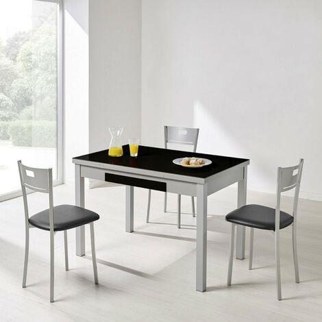 Mesa de cocina cristal negro extensible Andrea | Dimensiones : 110 x 70 cm.