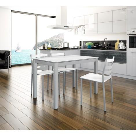 Mesa de cocina extensible doble carro modelo Chiala Blanca