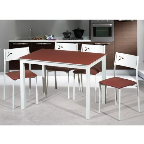Mesa de cocina extensible lateral estructura blanca White