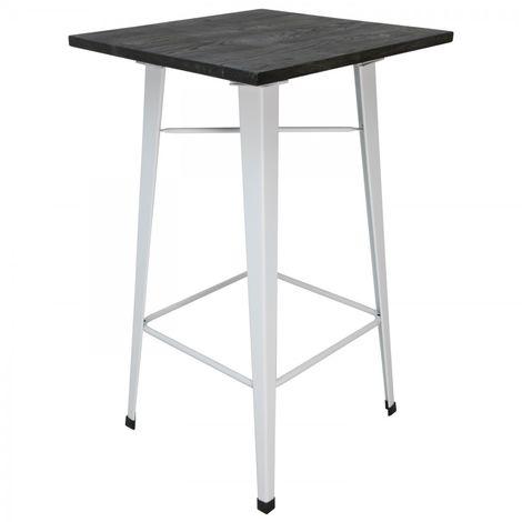 Mesa de comedor alta bistro con tablero de madera y patas blancas