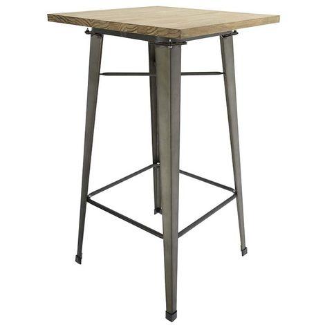 Mesa de comedor alta con tablero de madera y patas metálicas