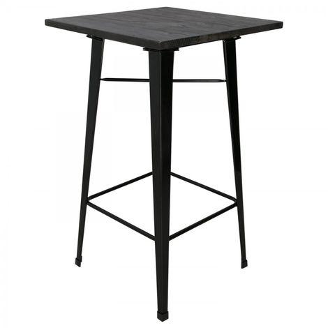Mesa de comedor alta con tablero de madera y patas negras