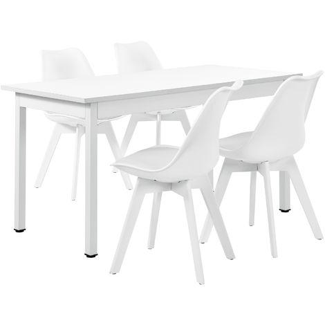 Mesa de comedor blanca con 4 sillas blancas - 53897510
