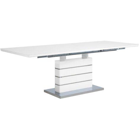 Mesa de comedor blanca de acero inoxidable 180/220x90 cm HAMLER