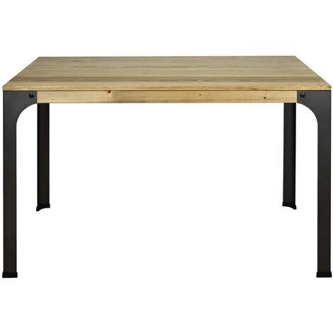 Mesa de comedor Bristol 120x80x75m acabado vintage estilo industrial - 80X120X75,5 cm - 1,8 - Efecto Vintage - Negro