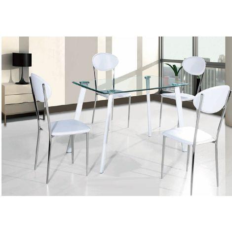 Mesa de comedor Calima metal, blanca, cristal transparente, 120 x 80 cms