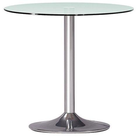 Mesa de COMEDOR cocina cromada, cristal 70 cms