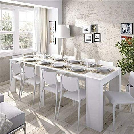 """main image of """"Mesa de Comedor, cocina o Consola, de 54 cm a los 239 cm de Largo ( 5 POSICIONES ) Blanco Brillo"""""""