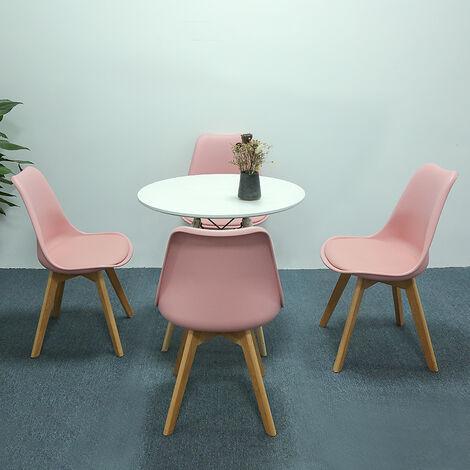 Mesa de comedor con 4 sillas,Juego de comedor de comedor(redonda)mesa casual 70x70x75cm| silla de comedor de polipiel Rosa