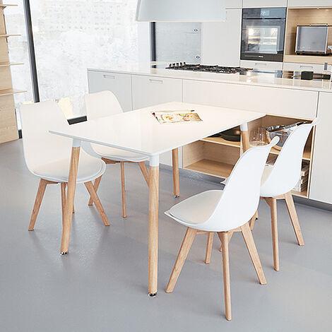 Mesa de comedor de diseño elegante 110x60x75cm con Set de 4 Silla| Estilo escandinavo Comedor comedor conjunto - Mesa Blancas - Sillas Blancas