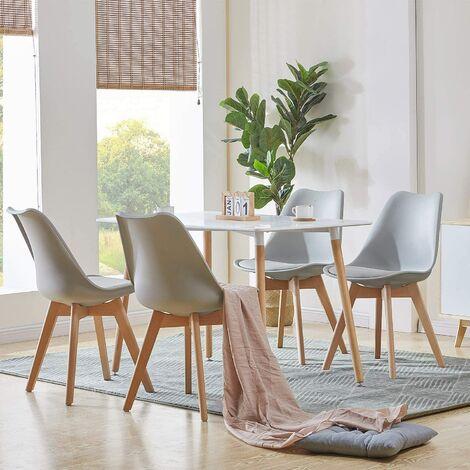 Mesa de comedor de diseño elegante 110x60x75cm con Set de 4 Silla| Estilo escandinavo Comedor comedor conjunto - Mesa Blancas - Sillas Gris
