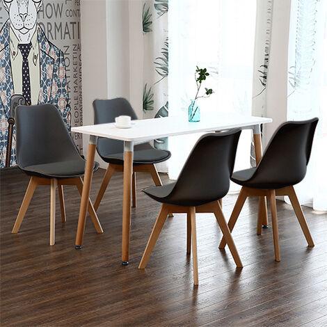Mesa de comedor de diseño elegante 110x60x75cm con Set de 4 Silla| Estilo escandinavo Comedor comedor conjunto - Mesa Blancas - Sillas Negra