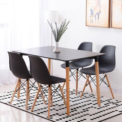 Mesa de comedor de diseño elegante 110x60x75cm con Set de 4 Silla| Estilo escandinavo Comedor comedor conjunto - Mesa Negra - Sillas Negra