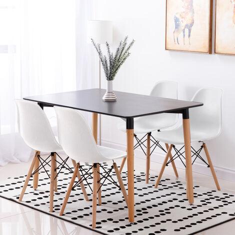 Mesa de comedor de diseño elegante 110x60x75cm con Set de 4 Silla| Estilo escandinavo Comedor comedor conjunto - Mesa Negro - Sillas Blanco