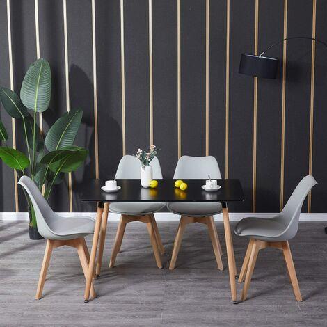 Mesa de comedor de diseño elegante 110x60x75cm con Set de 4 Silla| Estilo escandinavo Comedor comedor conjunto - Mesa Negro-Sillas Gris