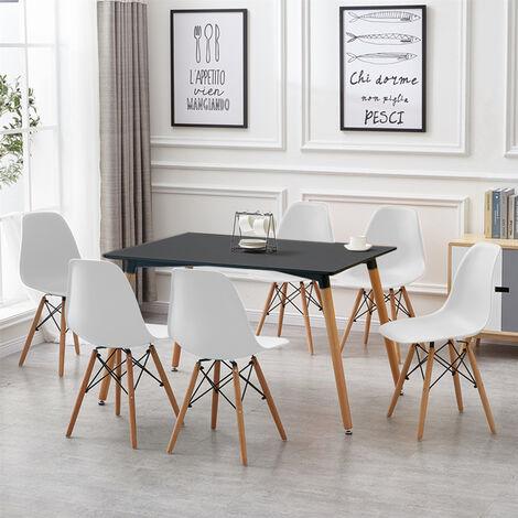 Mesa de comedor de diseño elegante 110x60x75cm con Set de 6 Silla| Estilo escandinavo Comedor comedor conjunto - Mesa Negra - Sillas Blancas