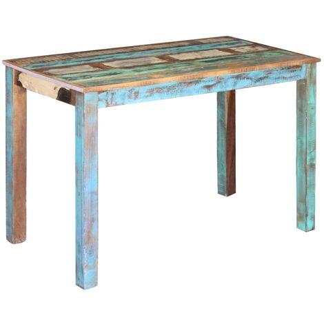 Mesa de comedor de madera maciza reciclada 115x60x76 cm