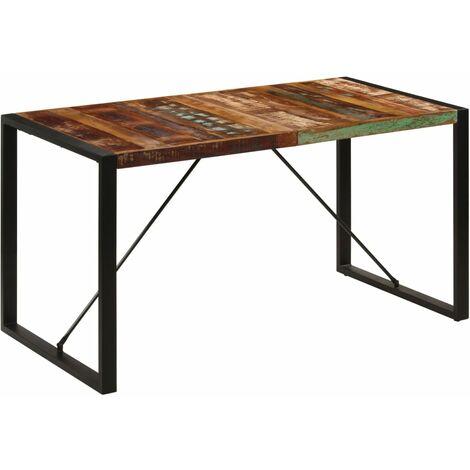 Mesa de comedor de madera maciza reciclada 140x70x75 cm